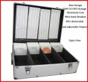 1000 CD DVD Silver Aluminum Media Storage Case Mess-Free Holder Box with Sleeves Free Shipping